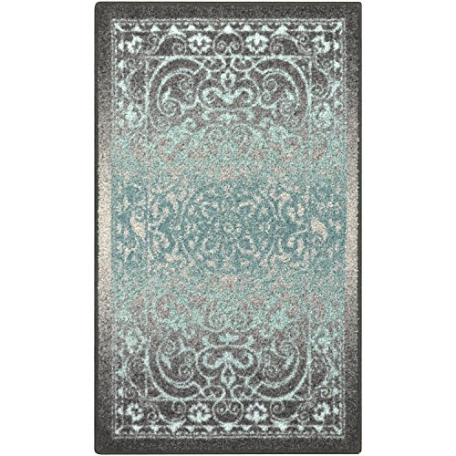 Kitchen Rugs, Maples Rugs [Made in USA][Pelham] 2'6 x 3'10 Non Slip Padded Small Area Rugs for Living Room, Bedroom, and Entryway - Grey/Blue (Room Living Grey In Carpet)