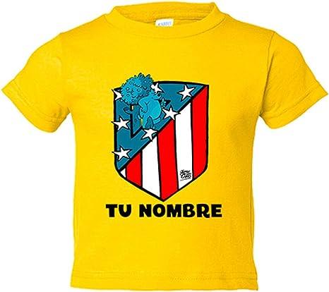 Camiseta niño Atlético de Madrid nuevo escudo personalizable con nombre - Amarillo, 3-4 años: Amazon.es: Bebé