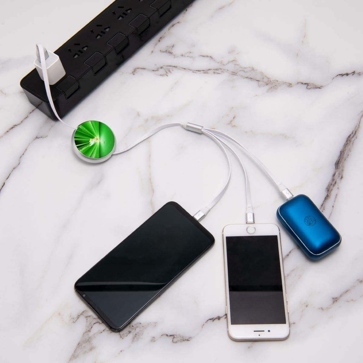 Tinker Bell USB Cable Three-in-One Round Charger Telescopic Data Multifunction Cable