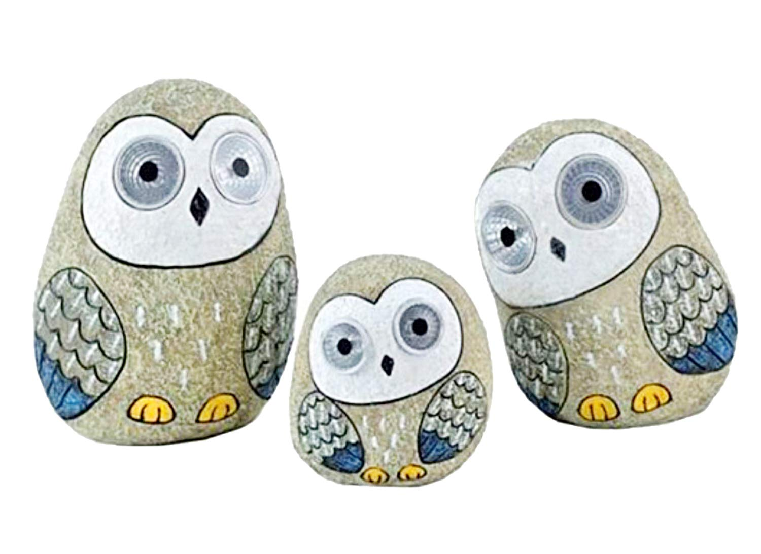 Solar Owls with Light Up Eyes, Set of 3 Figures (Grey)