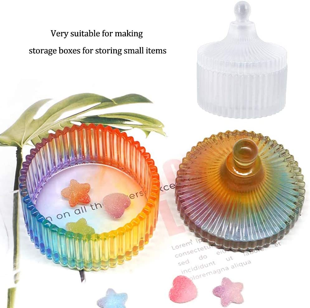 SIMUER Resin Moulds DIY Craft Storage Box Making Crystal Epoxy Molds Round Stripe Jewelry Holder Case Silicone Mold