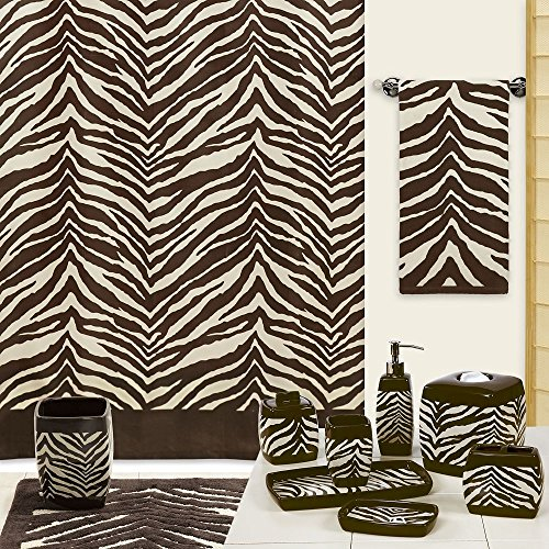 Chocolate Zebra Print - DS BATH Zebra Shower Curtain,Polyester Fabric Shower Curtain,Print Shower Curtains for Bathroom,Contemporary Decorative Waterproof Bathroom Curtains,72