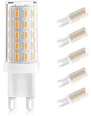 Ascher Pack de 5 G9 3W Led Bombilla,Equivalente de 40W Lámpara Halógena,400 Lumen,Blanco Cálido,Ángulo de visión 360°