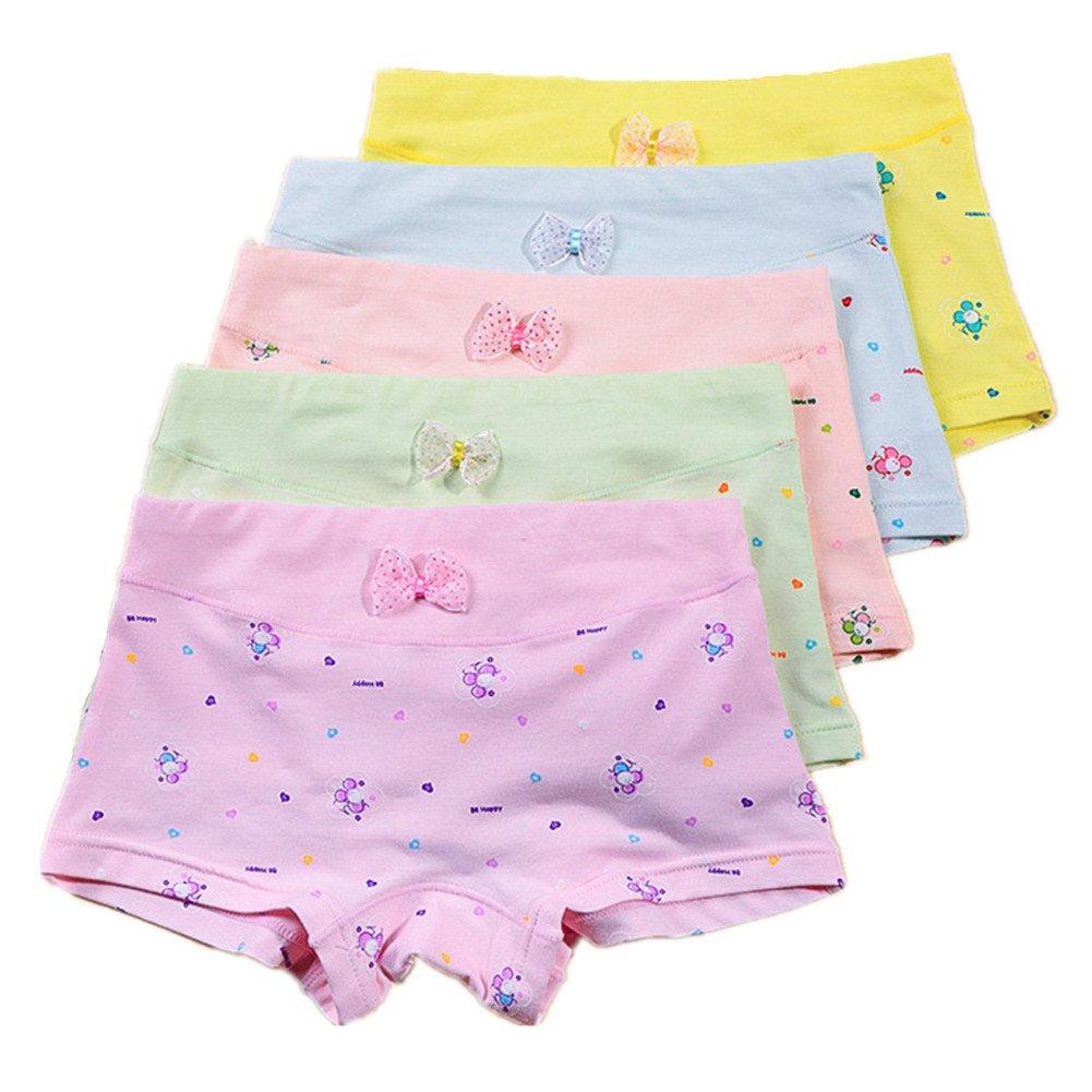 Little Girls' Boyshort Underwear Cotton Briefs Panties Set 5 Pack CzBonjour