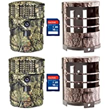 Moultrie 14MP Panoramic 180i Game Camera, 2 Pack with Security Cases & SD Cards