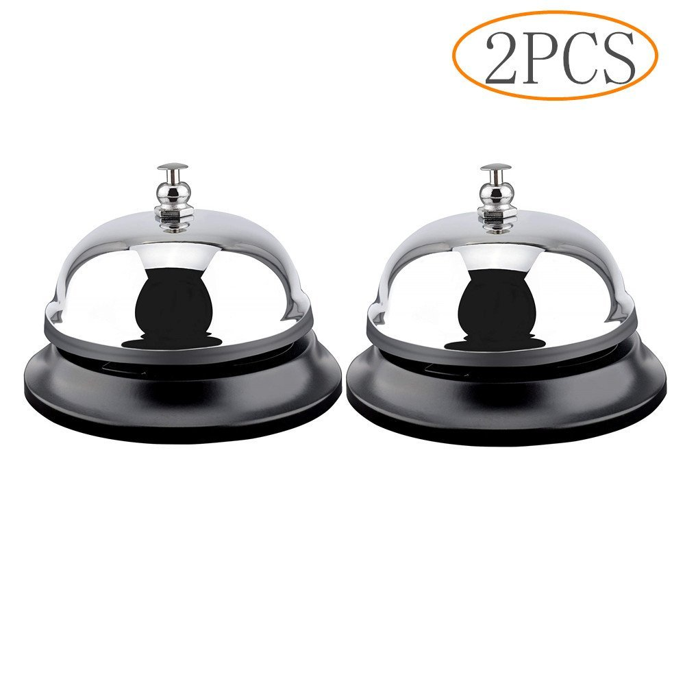 Tang Song 2PCS Call Bells Chrome Finish All-Metal Construction, Desk Bell Service Bell for Hotels, Schools, Restaurants, Reception Areas, Hospitals, Warehouses (Silver)