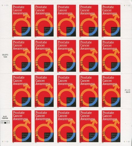 PROSTATE CANCER AWARENESS x  3315 PANE of 20 x AWARENESS 33¢ US Postage Stamps by USPS eb9b02