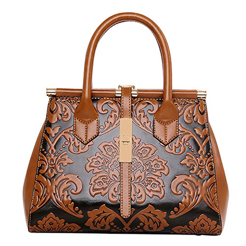 QZUnique Women's Fashion Chinese Style Elegant Empaistic Top Handle Cross Body Shoulder Bag Brown