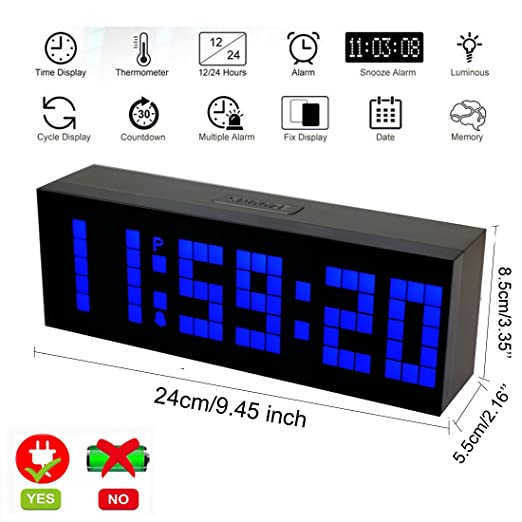 LambTown Reloj Digital LED con Múltiples Alarmas Fecha Termómetro luz de Noche - Azul