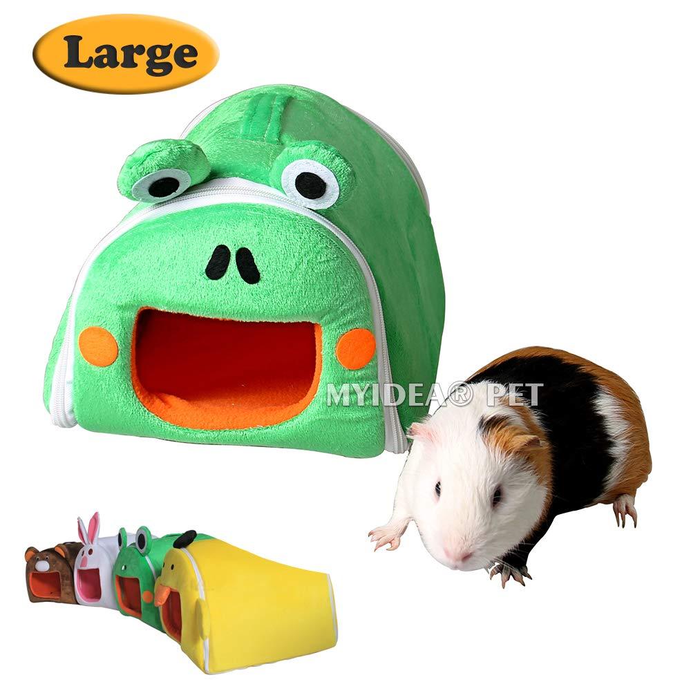 MYIDEA Guinea Pig Hamster's Portable Bed - Hedgehog/Rat/Gerbil/Sugar Glider Zipper Folding Pet Cartoon Hanging Nest(L, Frogs)