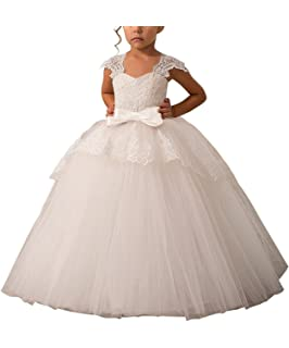 d8af7e587 Elegant Lace Appliques Cap Sleeves Tulle Flower Girl Dress 1-14 Years Old