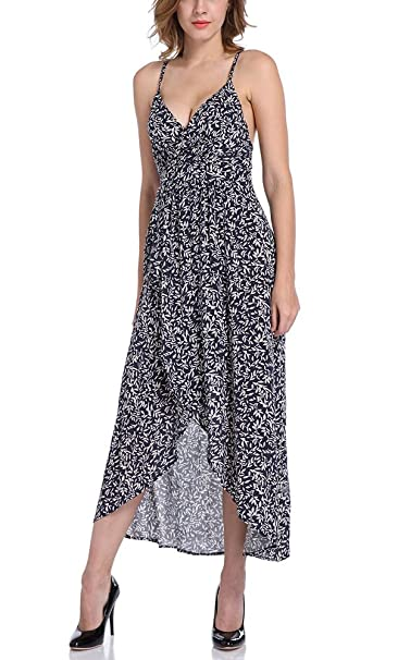 Vestidos Largos Verano Elegantes Casual Estampados Vintage Boho Vestidos Playa Sin Mangas Tirantes Escotados V Cuello