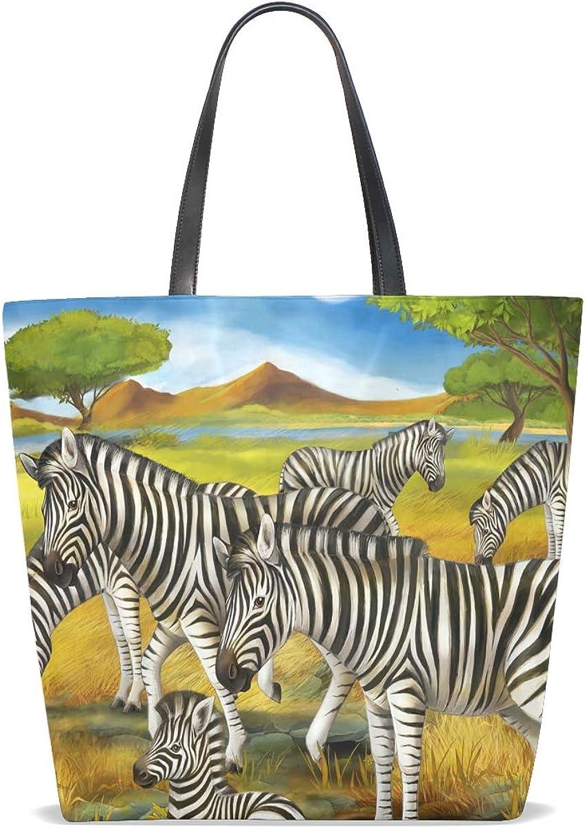 FANTAZIO Tote Shoulder Bag for Women Zebras Family Painting Tote Bag