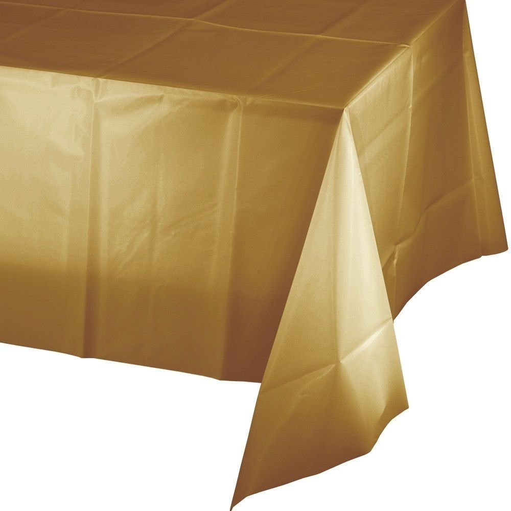 Mountclear 12-Pack Disposable Plastic Tablecloths 54'' x 108'' Rectangle Table Cover (GOLD)