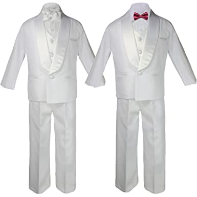 7167ff75757c 6pc Boys White Satin Shawl Lapel Suits Tuxedo EXTRA Burgundy Satin Bow tie  Set (S