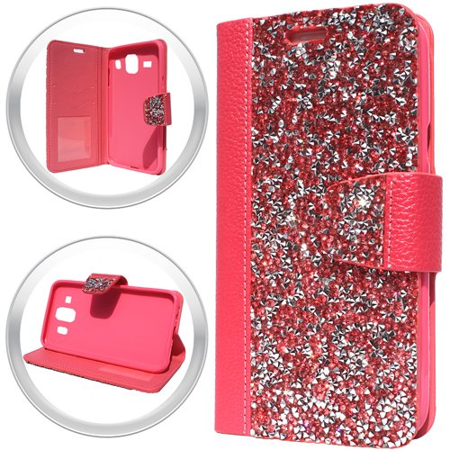 Rock Bling PU Leather Flip Wallet Case Cover w/Card Storage and Strap for Samsung Galaxy On5 SM-G550 G550T G550T1 S550TL G550FY Phone (Hot ()