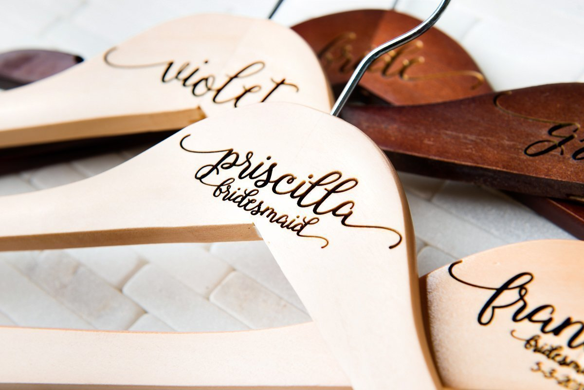 3 Wedding Dress Hangers Personalized Calligraphy Bride Bridesmaid Gift for the Couple Matron Maid of Honor Engraved Wood Quick Ship