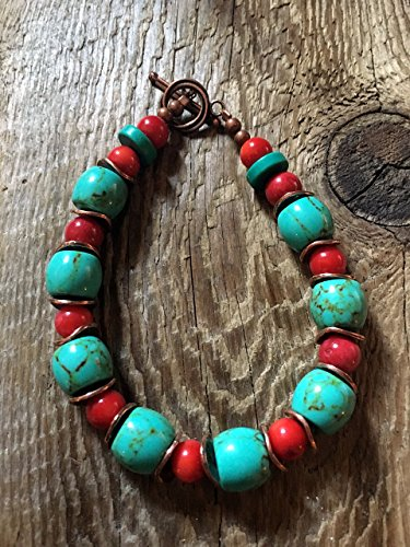 Large Turqoise Barrel Beads, Red Coral Ball Beads with Wavy Brushed Copper Disc Spacers and a Swirl Copper Toggle Clasp ()