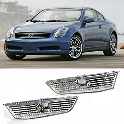 FAYUE Side Marker Light Chrome Compatible With 2003 2004 2005 2006 2007 Infiniti G35 2dr Coupe: Automotive