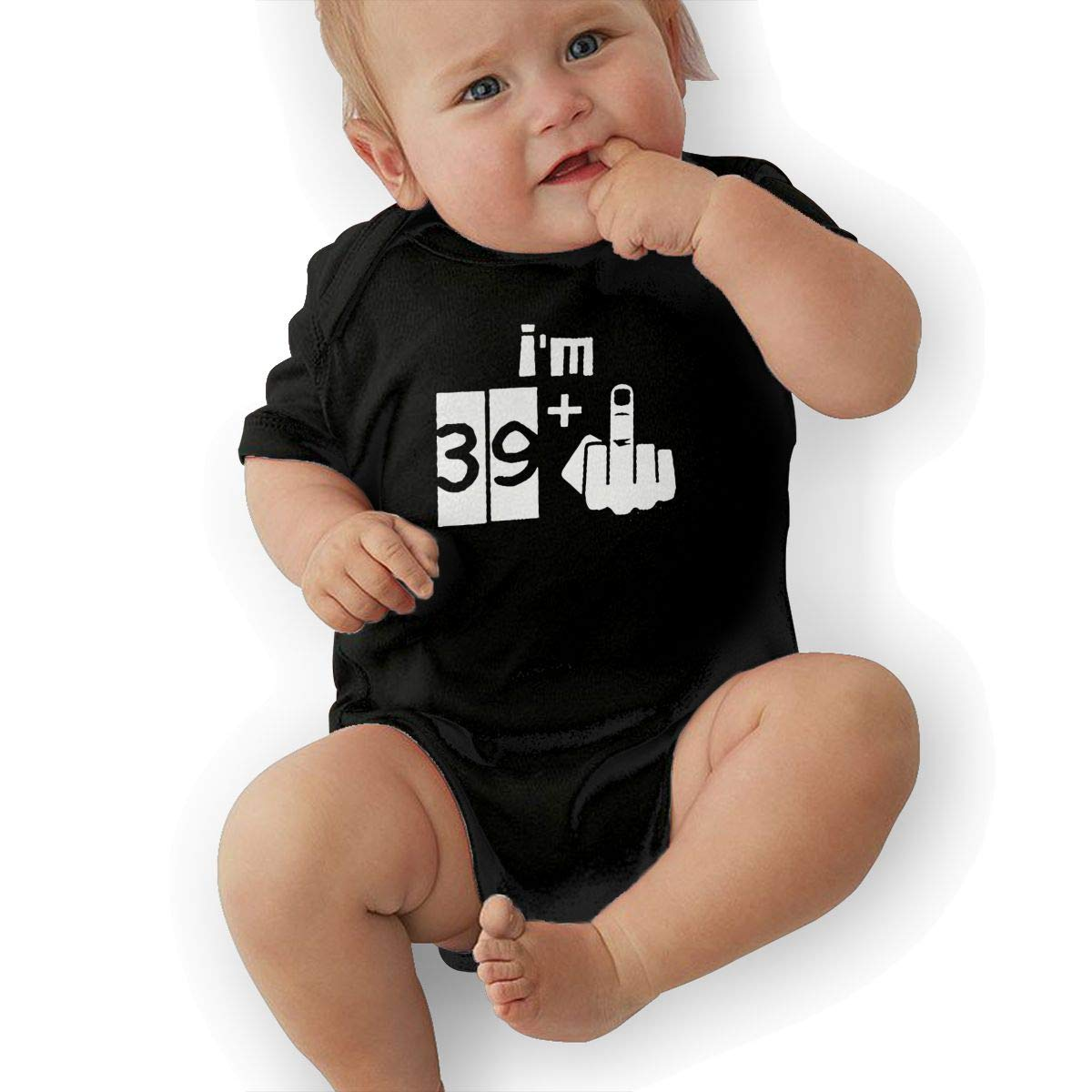 U88oi-8 Short Sleeve Cotton Bodysuit for Baby Boys and Girls Soft Im 39 Plus 1 40th Birthday Onesies