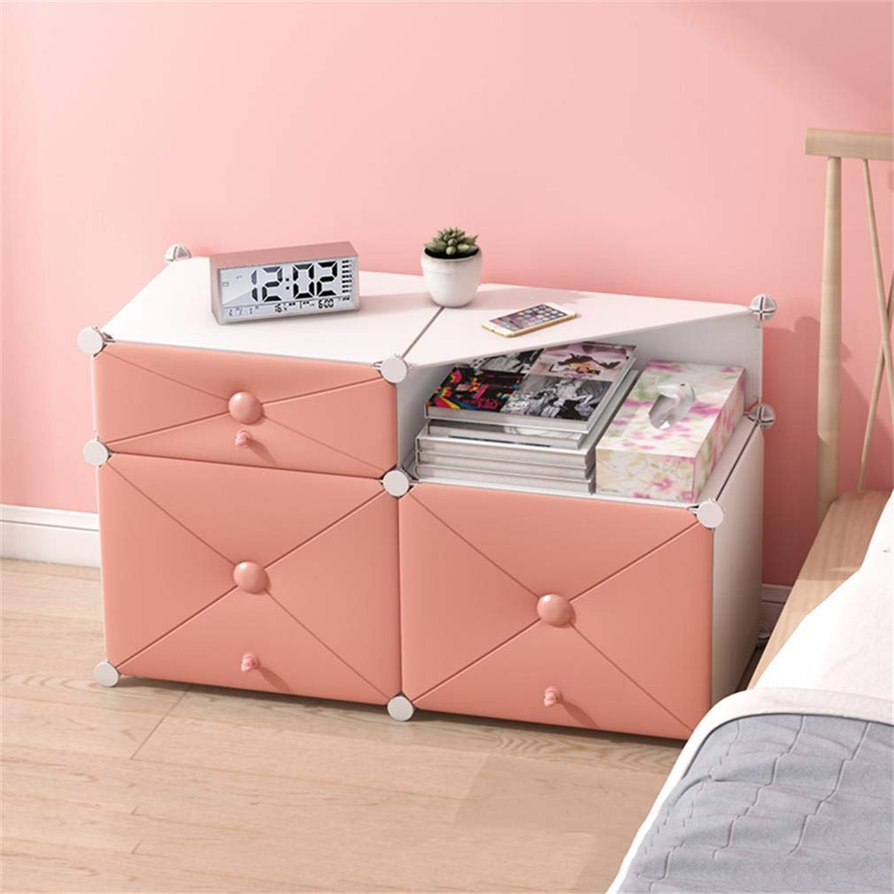 I ALUS- Bedside Table Simple Multi-Functional Assembly Locker Mini Storage Cabinet