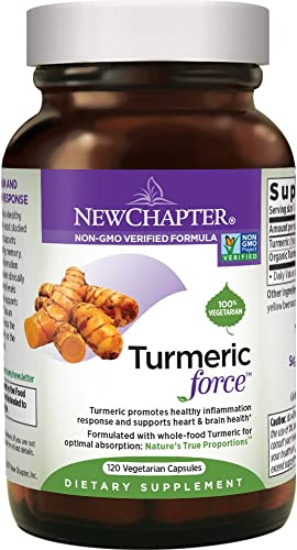 Turmeric Curcumin Supplement, New Chapter Turmeric Supplement, One Daily, Joint Pain Relief Supercritical Organic Turmeric, Black Pepper Not Needed, Non-GMO, Gluten Free 120 Count 4 Month Supply
