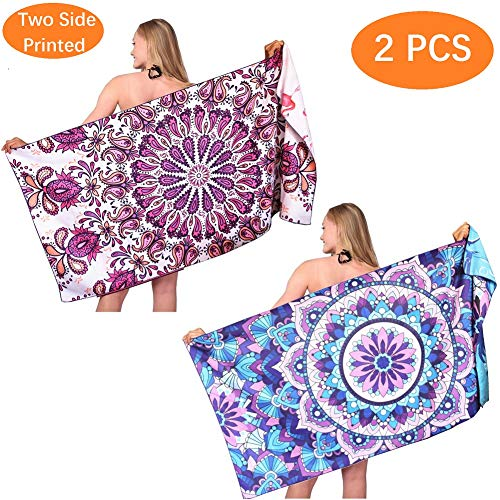 Mandala Sand Free Beach Towel-Oversized Large Fast Dry Super Absorbent Lightweight Thin Bath Towels Blanket for Travel Pool Swimming Camping Girls Women Men Adults 2 Packs