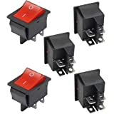SODIAL(R) 5 x Interrupteurs a bascule DPST On/Off 16A/250V 20A/125V AC Illumination rouge