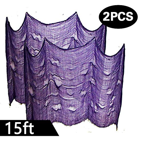 Powerful 2PCS Super Size in Halloween Creepy Gray Black Purple White Cloth for Houese and Outdoor Party Supplies & Decorations (2 X 5yd(15ft) X 80 in, Purple)