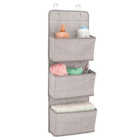 mDesign Estanteria colgante para organizar armarios - Percha para colgar ropa de bebe, peluches y