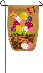 Evergreen Flag Easter Egg Basket Burlap Garden Flag, 12.5 x 18 inches