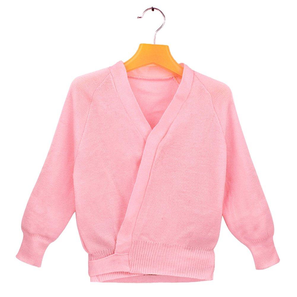 Girls Kids Classic Shawls Long Sleeve Knitted Ballet Dance Sport Wrap Over Top (Pink, 6-8)