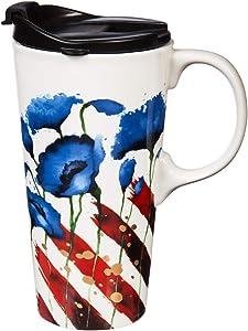 Patriotic Ceramic Travel Cup - 5 x 7 x 4 Inches