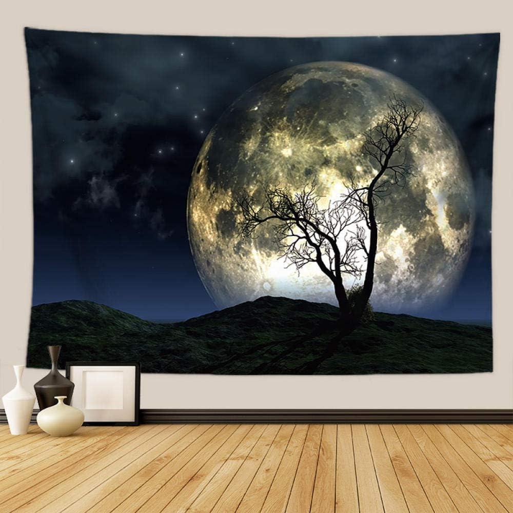 YASHUO Tapiz De Luna De Noche Cielo Estrellado Negro Decoración De Pared Alfombra Dormitorio Decoración Tela De Pared Tapisserie Mural,Mn4,220X150cm