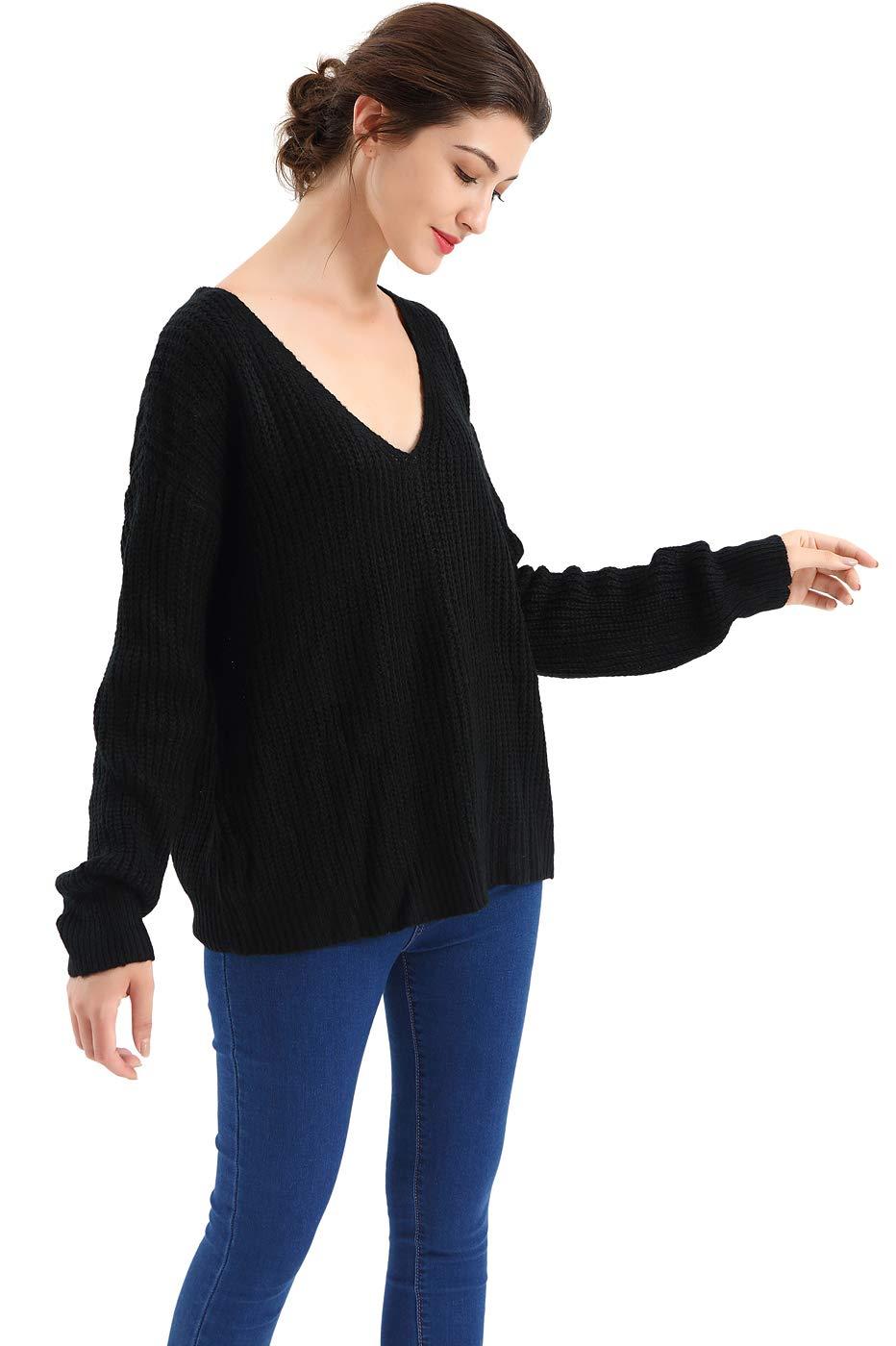 BodiLove Women's Dolman Sleeve Scoop Neck Ribbed Knit Sweater Black XL(DM18-888)