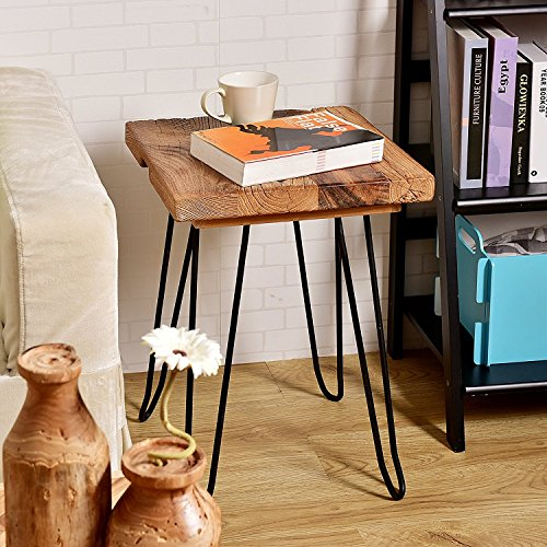 WELLAND Square Old Elm Wood End Table Rustic Surface Side Table With 4-Leg Metal Stand (Coffee Square Reclaimed Wood Table)