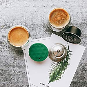i Cafilas New Lid Stainless Steel Refillable Dolce Gusto Coffee Capsules Crema Reusable Coffee Pods Metal Permanent Coffee Holder Compatible for Nescafe Dolce Gusto (2 pcs capsules) (Color: 2 pcs capsules)