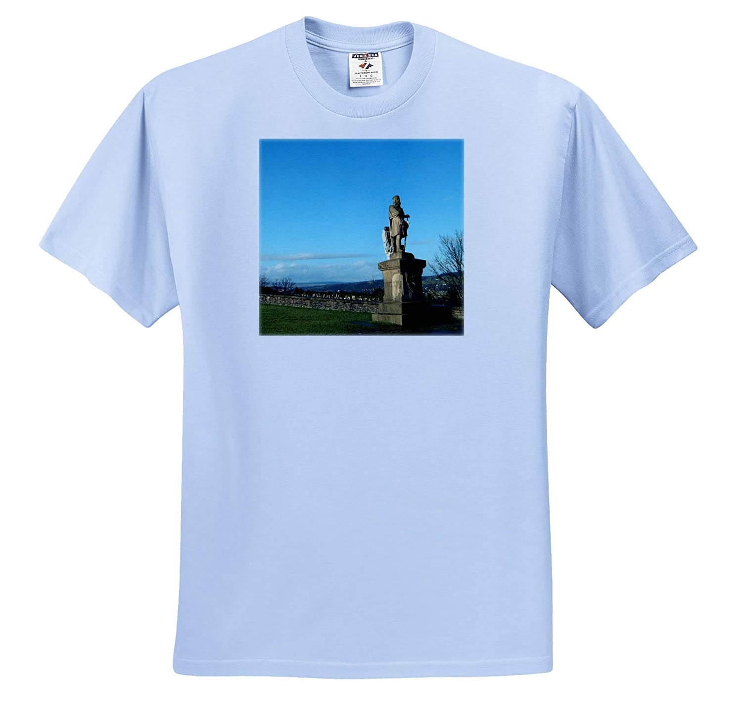 T-Shirts Scotland Statue A Statue at The Stirling Castle in Scotland Off to Right on Green 3dRose Jos Fauxtographee