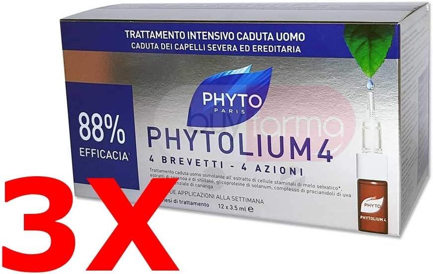 oferta 3X Phyto phytolium 4–tratamiento intesiva anticaída hombre–36ampollas (3meses de terapia)