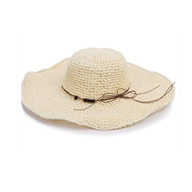 Image Unavailable. Image not available for. Color  Women s Wide Brim Straw Sun  Hat Summer Sun Hat Beach Cap Off-White b83af67e5346