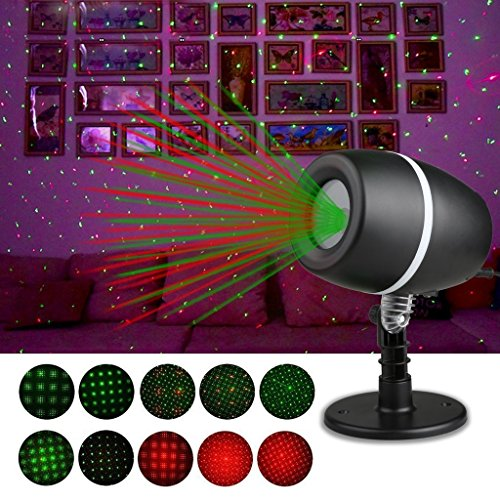 LED Projector Light,YUEGANG Star Laser Landscape Projector Light Outdoor Waterproof Decoration for Christmas Halloween Party, Disco Dj, Wedding, Birthday, Stage (Red-Green Star) (Days Left Until Halloween)