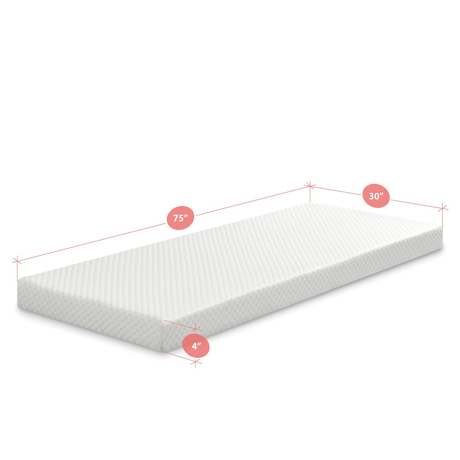 30 x 75 AZ-FMS-4N Zinus Memory Foam 4 Inch Mattress RV Bunk Cot Size Cot Size RV Bunk 30 x 75 Narrow Twin Narrow Twin Guest Bed Replacement Guest Bed Replacement