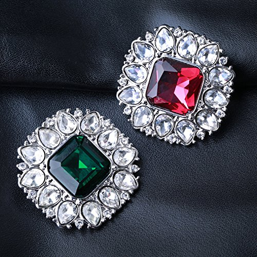 -19 rted Europe and crystal glass stones Austria classical retro square diamond emerald brooch