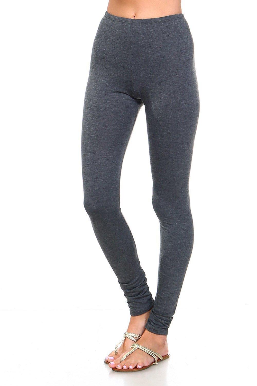 Simplicitie Women's Premium Ultra Soft High Waist Leggings - Heather Grey, Medium - Made in USA