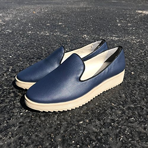 Andrew Stevens Womens Fanny Fashion Sneaker Leather and Hair-On Navy Leather oy0ASysDo