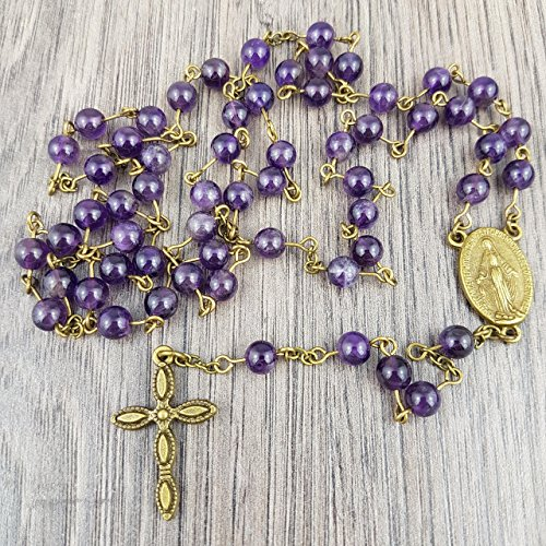 Natural Amethyst and Antique Bronze Classic Rosary