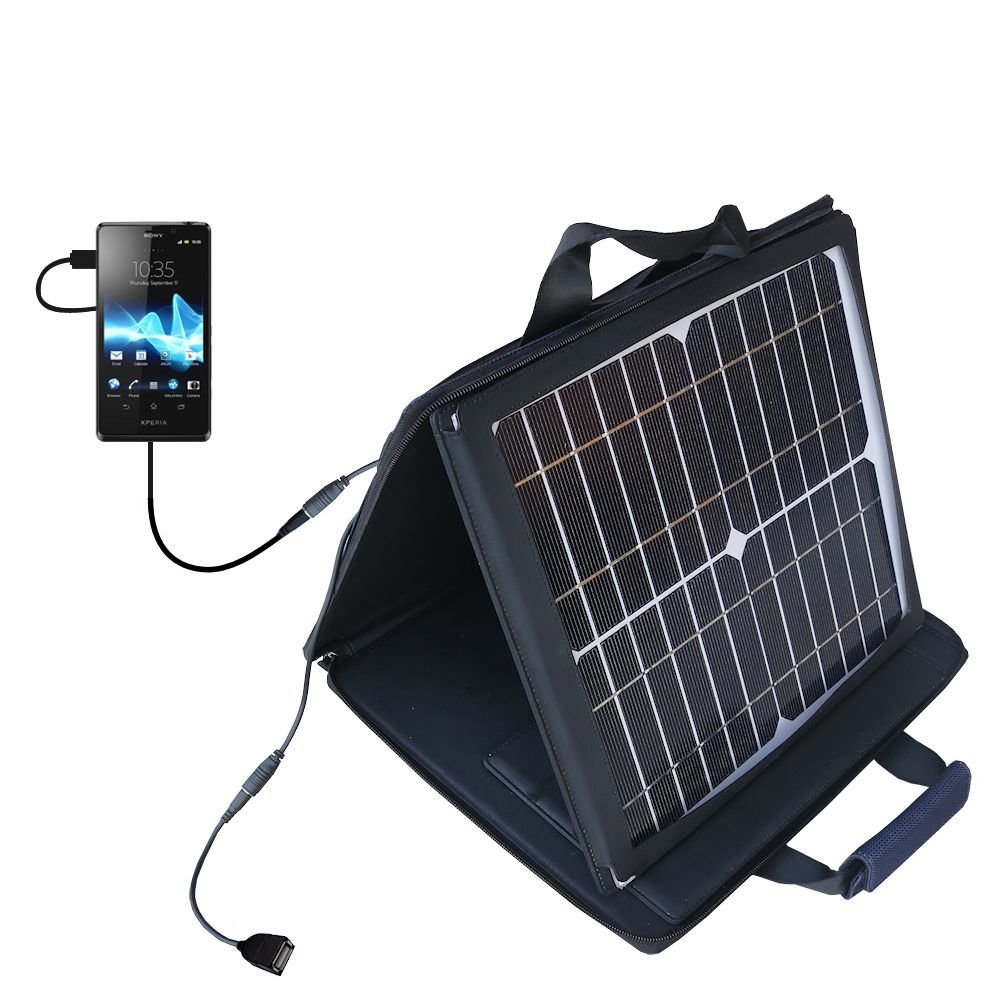 Gomadic SunVolt Powerful and Portable Solar Charger suitable for the Sony Xperia T / TX / TL - Incredible charge speeds for up to two devices by Gomadic
