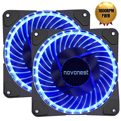 Side Fan Cool Motor - 120mm PWM case fan 2PACK Solar Eclipse Hydraulic Bearing quiet cooling case fan for computer 32 leds MIRAGE Color LED fan 4 pin with Anti Vibration Rubber Pads(Blue)