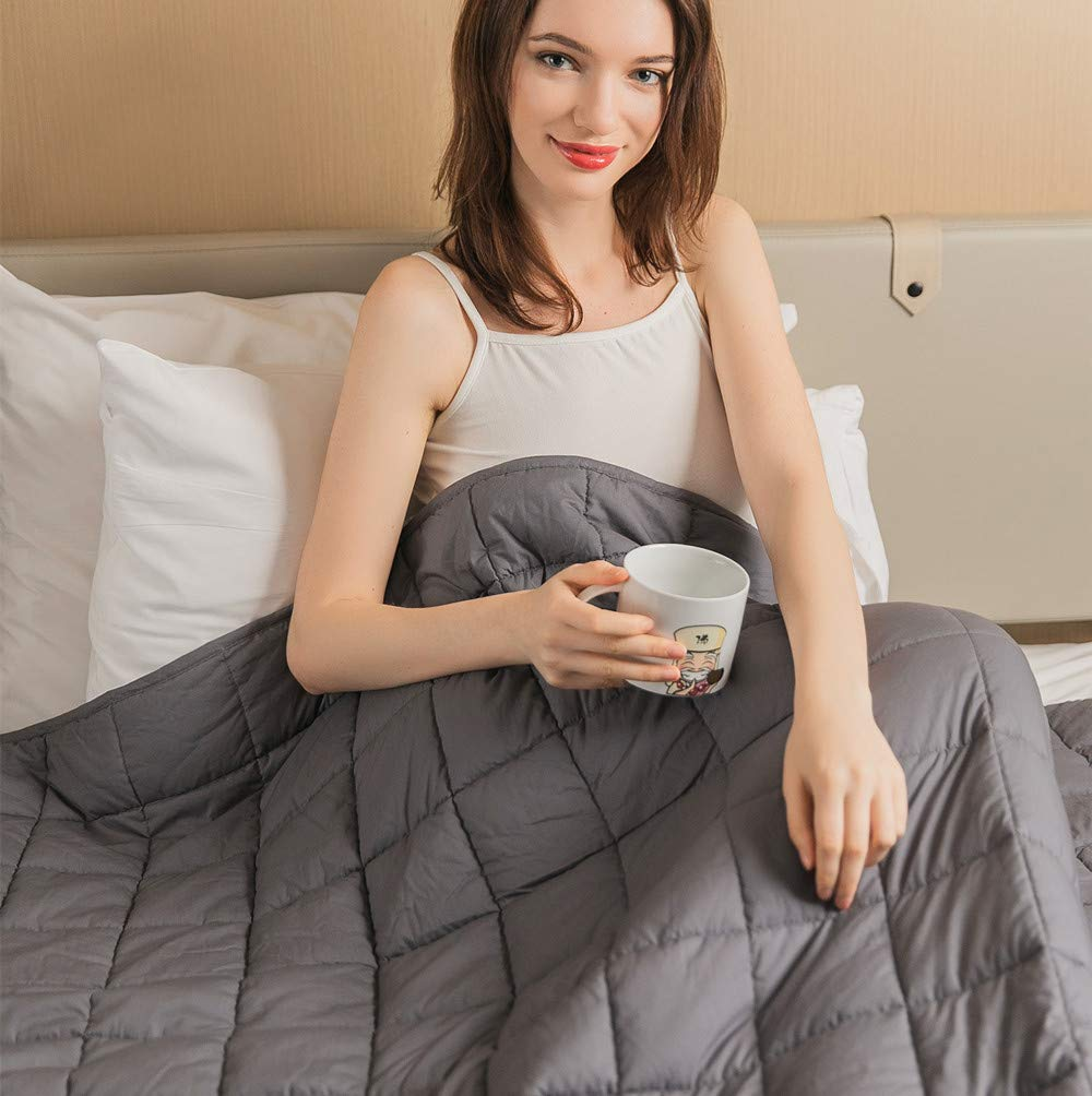 Daverose Calming Weighted Blanket for Adults 15lbs 60''X80'' 130-160lbs Adults Queen Size|Smaller Pockets|Children Comfort Sensory Heavy Blanket (Grey)