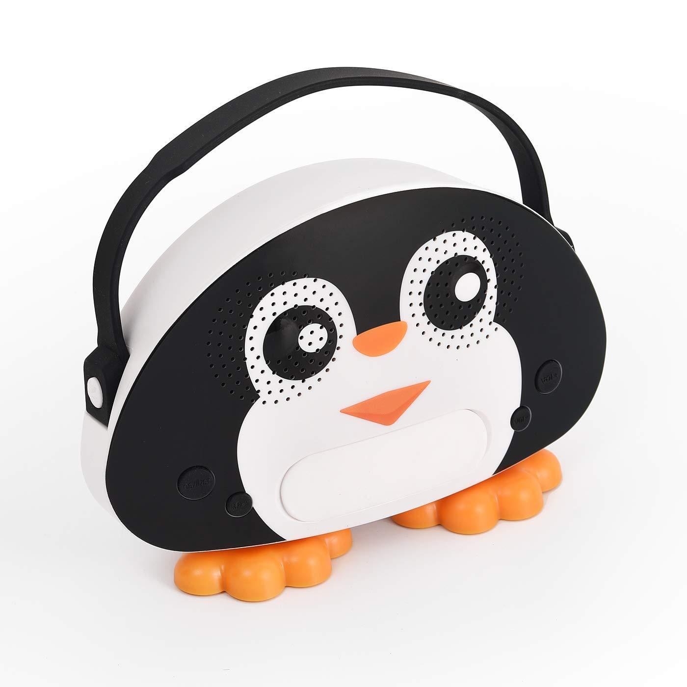 HowQ Outdoor Toys Karaoke Machine , Portable Kids Karaoke Bluetooth Speaker Wireless Cartoon Speaker for Kids for Indoor Toys Travel Activities with Microphone Penguin Karaoke Machine(Black-White) by HowQ (Image #3)